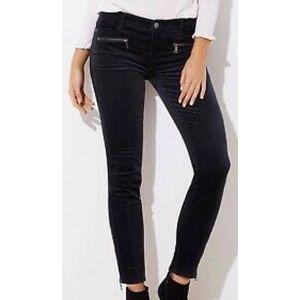 LOFT Modern Skinny Ankle Black Corduroy Pants
